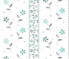 fabric, upholstery, patterns, quilting fabric, wallpaper, wrapping paper - Crayon Flowers Stripes Aqua Grey fabric by wickedrefined on Spoonflower