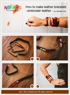 How to Make Leather Bracelets - Embroider Leather