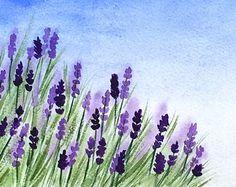 Original Watercolor Lavender, Original Lavender Art, 5x7 inches, Purple Flowers Watercolor Painting, Lavender Field Art