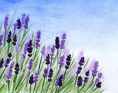 Lavender Original Watercolor Painting by TreeHollowDesigns
