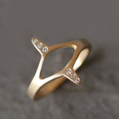 Egyptian Eye Ring in Brass with Diamonds