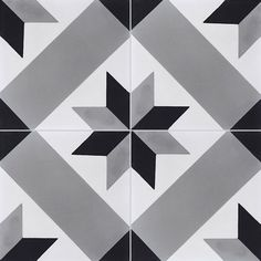 - cement tiles T 41 - Couleurs & Matières Patterned Kitchen Tiles, Black White Bathrooms, Black Tiles, House Tiles, Concrete Tiles, Painted Floors, Tile Patterns, Mosaic Tiles, Wall Design