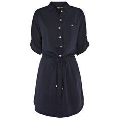 Navy Drawcord Shirt Dress ($36) ❤ liked on Polyvore featuring dresses, vestidos, tops, women's dresses & skirts, women+dresses, long shirt dress, navy shirt dress, warehouse dresses, drawstring dress and navy blue shirt dress