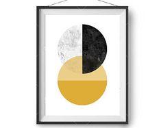 Abstract Art, Retro Print, Printable, Mustard Marble Black Poster, Large Wall Art, Art Prints, Scandinavian Print, Geometric Art, Yellow Art