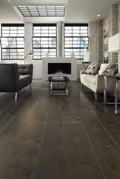 Let your floor stand out like this attention-grabbing dark stained White Oak. Incorporate deep and dark tones to make your space both brave and bold. Take a look at this striking loft to have some serious floor envy. #whiteoakflooring #interiordesign Pine Wood Flooring, White Wood Floors, Wide Plank Flooring, Wood Floor Stain Colors, White Oak, Wood Furniture, Hardwood, Photoshop, Window