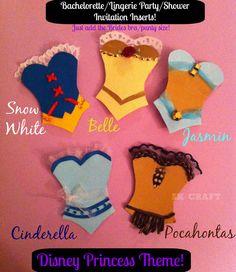 Disney Princess Bachelorette or Wedding Shower Panty/Lingerie Invitation Insert