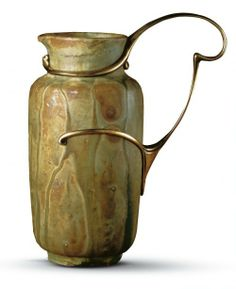 Alexandre Bigot (1862–1927): Pottery. Édouard Colonna (1862–1948): Silver Mounts. Pitcher. Stoneware Pitcher, Grès émaillé, with Silver Mounts, partly Gilt. Circa 1895.