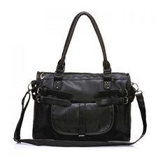 Casual Solid Color Vintage Large Size Rivet Design Women's Shoulder Bag, BLACK in Shoulder Bags | DressLily.com