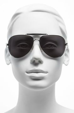 Valentino 'Rockstud' 60mm Metal Aviator Sunglasses