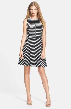 MICHAEL Michael Kors Zip Front Stripe Fit & Flare Dress