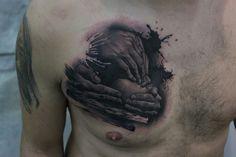 Hear, see, speak no evil chest tattoo