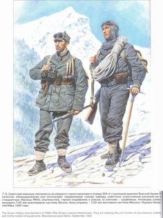 ARMATA ROSSA - El Destacamento militar especial de Alpinistas soviéticos de la 394ª División de Infantería destacamento. Ellos están usando los modelos de ropa y equipos de montaña. Mountañas tras Nahar, septiembre de 1942.