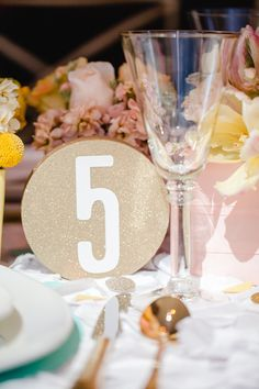 Gold glitter table number // design by Every Last Detail, image by JoPhoto