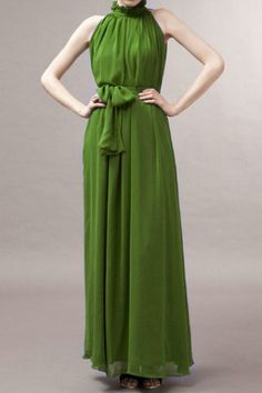 Off-shoulder Lace-up Grass Green Pleated Maxi Dress #RomwePartyDress