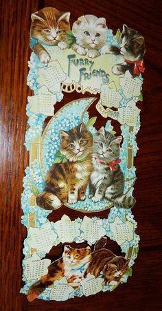 ANTIQUE Victorian RAPHAEL TUCK Die Cut Cat Kitten 1908 Calendar Calico Tabby (04/20/2015)