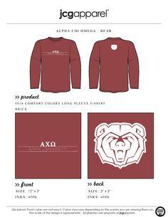 JCG Apparel : Custom Printed Apparel : Alpha Chi Omega Bear T-Shirt #alphachiomega #axo #bear