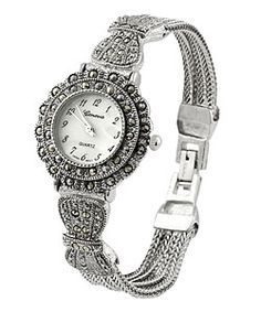 <br><li>Keep the time and stay in style with this Geneva Platinum silver Marcasite antique watch <li>Add some glamour to your look with this antique style timepiece<li>Jewelry features a round-shaped case with a mother-of-pearl dial Antique Watches, Antique Clocks, Vintage Watches, Marcasite Jewelry, Platinum Jewelry, Jewelry Show, Native American Jewelry, Metal Chain, Fashion Watches