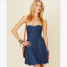 Sale  Free People Fit And Flare Denim Dress