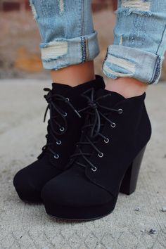 Black Lace Up Platform Bootie | UOIonline.com: Women's Clothing Boutique