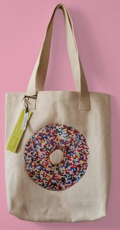SALE++Sprinkles+Hawaiian+Donut++Canvas+Market+Tote+by+avrilloreti