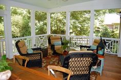 Screened Porch and deck. Like that it has both lounging and eating areas.