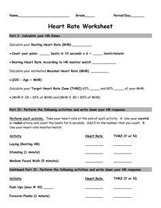 Heart Rate Activity Worksheet - Belle Vernon Area School District