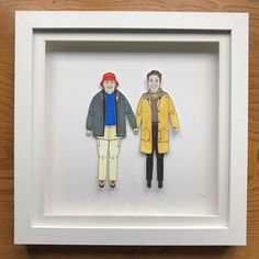 Heading off to New York is this marvellous couple. Deep Box Frames, Sharpie Pens, Pen And Watercolor, Portrait Illustration, Paper Dolls, My Drawings, Anniversary Gifts, Bespoke, Wedding Gifts