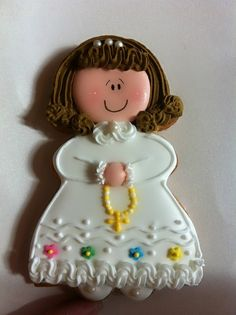 Little girl baptism sugar cookie - Chapix Cookies Cookies For Kids, Cute Cookies, Easter Cookies, Cupcake Cookies, First Communion Cakes, Communion Gifts, First Holy Communion, Christening Cupcakes, Baptism Cookies