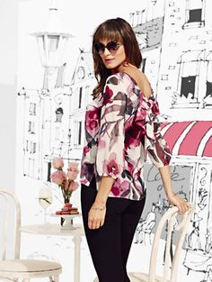 130a3c83d032 The Karlie Bow-Back Blouse Dressy Tops, Bow Back, Floral Blouse, Ruffle