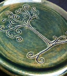 Small forest green Lothlorien swirly tree plate