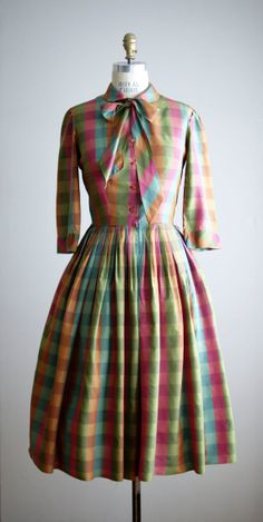 1950s silk plaid day dress...I think I owned a version of this dress.