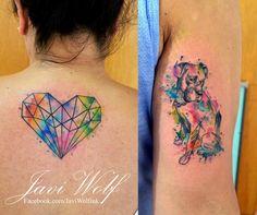 Tattoo artist from Mexico City. Small Watercolor Tattoo, Watercolor Sketch, Unique Tattoos, Small Tattoos, Javi Wolf, Wolf Tattoos, Tatoos, Watercolor Animals, Skin Art