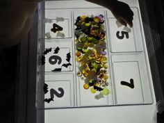 Counting Halloween objects on the light table