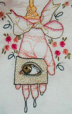 irisnectar:  Trippy embroidery by Alaina Varrone (Spider's Paw on etsy)