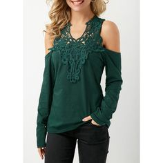 Dark Green Cold Shoulder Patchwork Blouse ($31) ❤ liked on Polyvore featuring tops, blouses, green, dark green blouse, pattern blouse, cold shoulder tops, cold shoulder long sleeve blouse and long sleeve blouse