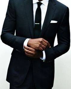 Black, tailored, cuffs, skinny black tie.