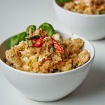 Quinoa with Chicken, Sun-dried Tomatoes Artichoke Hearts and Feta {Gluten-Free}