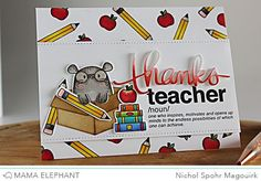 "Nichol Spohr LLC: Mama Elephant Stamp Highlight | Page Huggers ""Thanks Teacher"" Card"