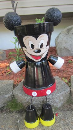 Planter Pot Person Garden Friend Listing is for 2 planters....set..... Mickey & Minnie Mouse. Our planters are made from terra-cotta clay pots &