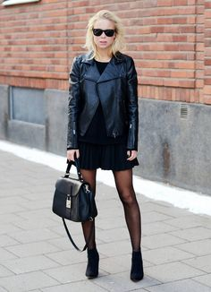 Leather jackets and pleated skirts. http://pinterest.com/treypeezy http://twitter.com/TreyPeezy http://instagram.com/OceanviewBLVD http://OceanviewBLVD.com