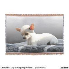 #Chihuahua Dog Sitting #Dog #Portrait Art #Painting #Throw #Blanket #animal #puppy