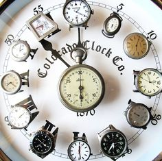 Repurposed (broken) wrist or pocket watches as a wall clock. I love all of this.