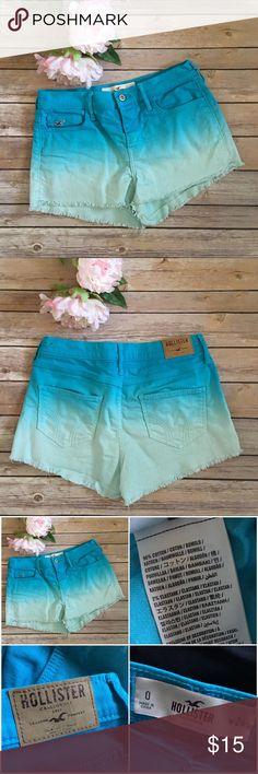 "HOLLISTER dip dye jean cut offs! Aqua! Hollister dip dye ombré jean short cut offs! These scream summer! Size 0 / W24, The inseam is 2"" with a 9"" rise. Dip dye aqua. Hollister Shorts Jean Shorts"