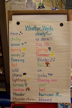 WEATHER WORDS This activity would be a simple, yet engaging, way for students to share their own ideas about weather. Together, the whole class would brainstorm common weather terms and put them on display for the rest of the seasonal weather unit. First Grade Science, Kindergarten Science, Preschool Lessons, Science Classroom, Science Lessons, Teaching Science, Science Activities, Science Experiments, Science Ideas