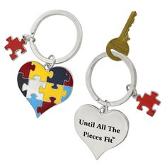 Fit Autism Awareness Puzzle Heart Keychain - Helps Sharonsweb Autism Foundation #AutismAwareness
