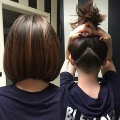 Undercut with an angled bob – Hair Styles Angled Bob Hairstyles, Short Bob Haircuts, Haircuts For Long Hair, Short Hair Cuts, Haircut Bob, Undercut Long Hair, Undercut Hairstyles, Undercut Bob, Short Bob With Undercut
