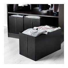 """IKEA - SKUBB, Box, black, , All three boxes fit side by side in a 39⅜"""" wide wardrobe frame."""