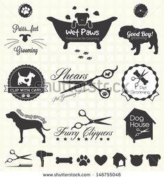 Vector Set: Pet Grooming Labels