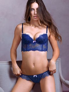 Victoria's Secret Very Sexy Long Line Balconet Bra and Chantilly Lace Cheekini Panty in Inkblot