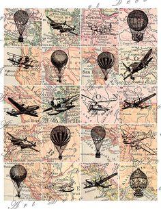 Pôster Vintage Biplano; Poster patente Decoração De Aviação Sem Moldura